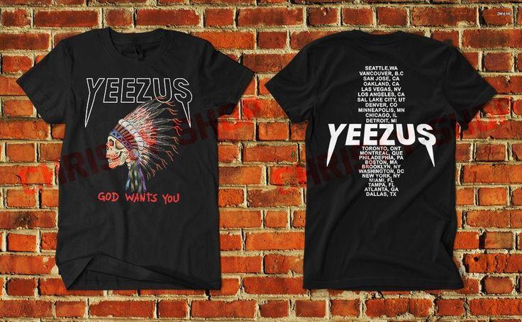 yeezus tshirt shirt clothing yeezy kanye west adult indian skull skeleton B4 #Unbranded #PrintedShirt