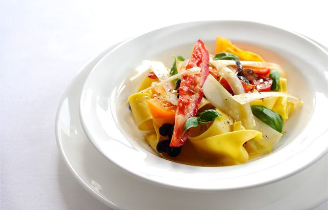 Pappardelle with slow cooked tomatoes, Parmesan and basil by Robert Thompson