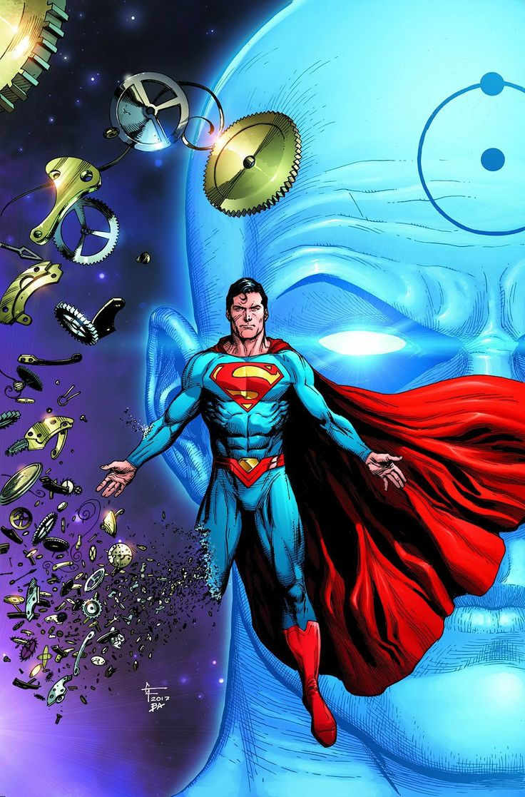 Cover for Doomsday Clock #1. What is the connection between Superman and Dr. Manhattan?