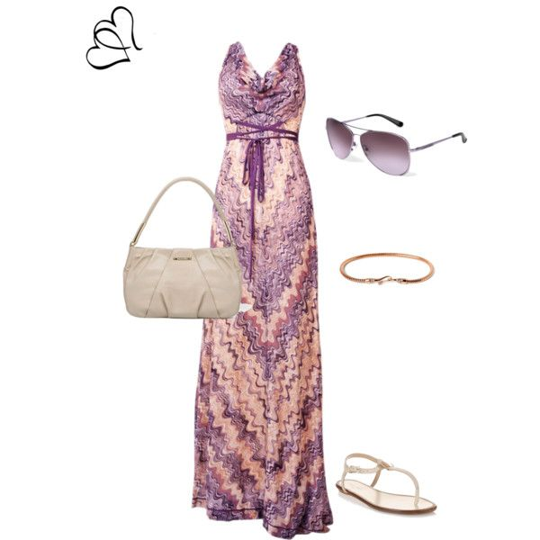 Purple maxi dress and sunglasses.