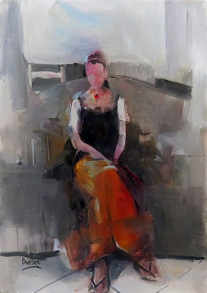 Orange Skirt by Sharleen Boaden 60x40cm Oil on Canvas