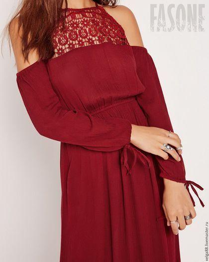 """Silk dress with lace / Платья ручной работы. Платье вишневого цвета в пол """"Boho - Cherry"""". *****FASONE*****     fashion studio. Ярмарка Мастеров. Платье рубашка"""