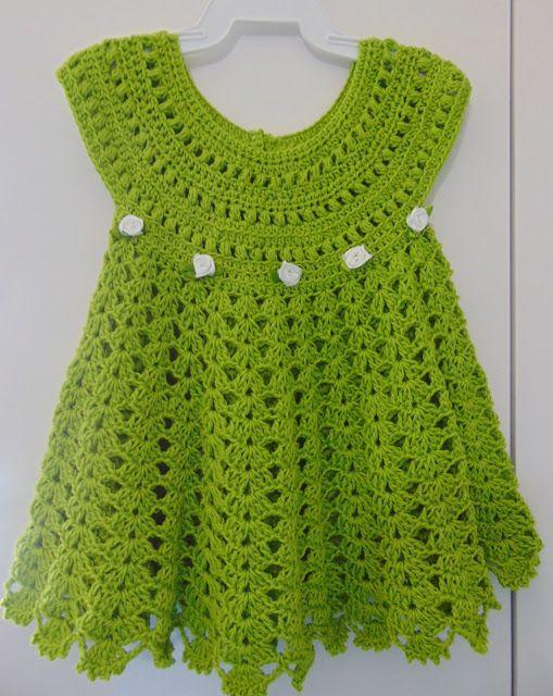Tricô e Crochê BEBÊ: Vestido de Crochê Verde Abacate Mais