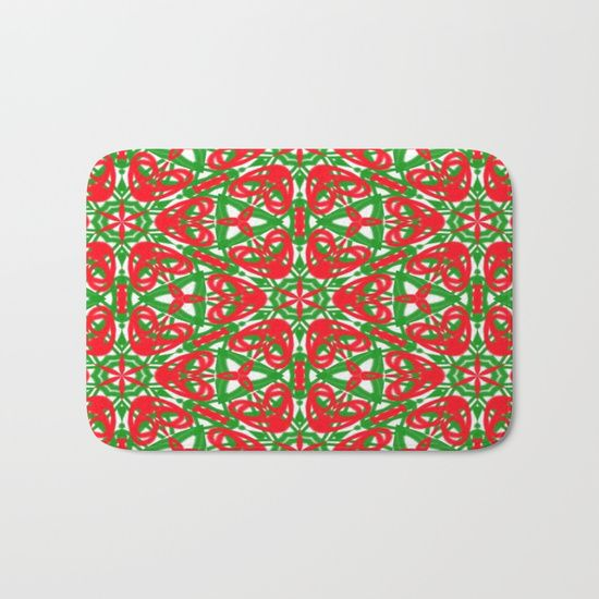 Red, Green and White bath mat by Khoncepts