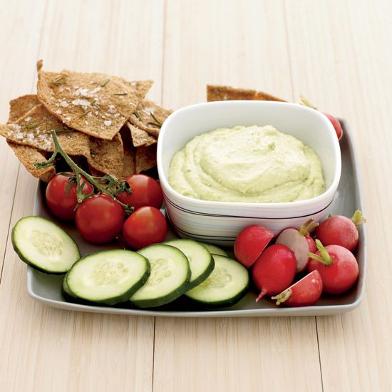 Curried Tofu-and-Avocado Dip with Rosemary Pita Chips | To create this tasty dip, Lee Anne Wong blends soft or silken tofu with avocado and a little bit of low-fat sour cream and yogurt.
