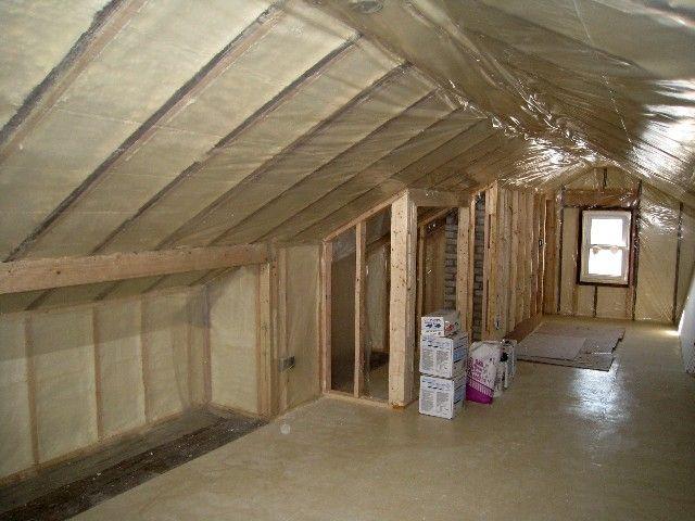Renovation  knee walls and insulation  Small Attic Spaces in 2019  Attic bedrooms Attic loft