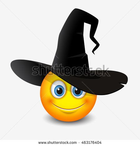 Cute emoticon wearing witch hat - smiley, emoji - vector illustration