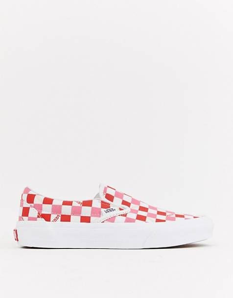 841db0d555 Vans Exclusive Red And Pink Checkerboard Slip On Trainers