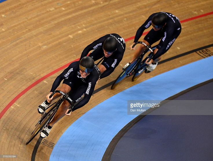 The New Zealand team compete in the Mens Team Sprint qualification during the UCI Track Cycling World Championships at Lee Valley Velopark Velodrome on March 2, 2016 in London, England. #TWC2016 #rm_112