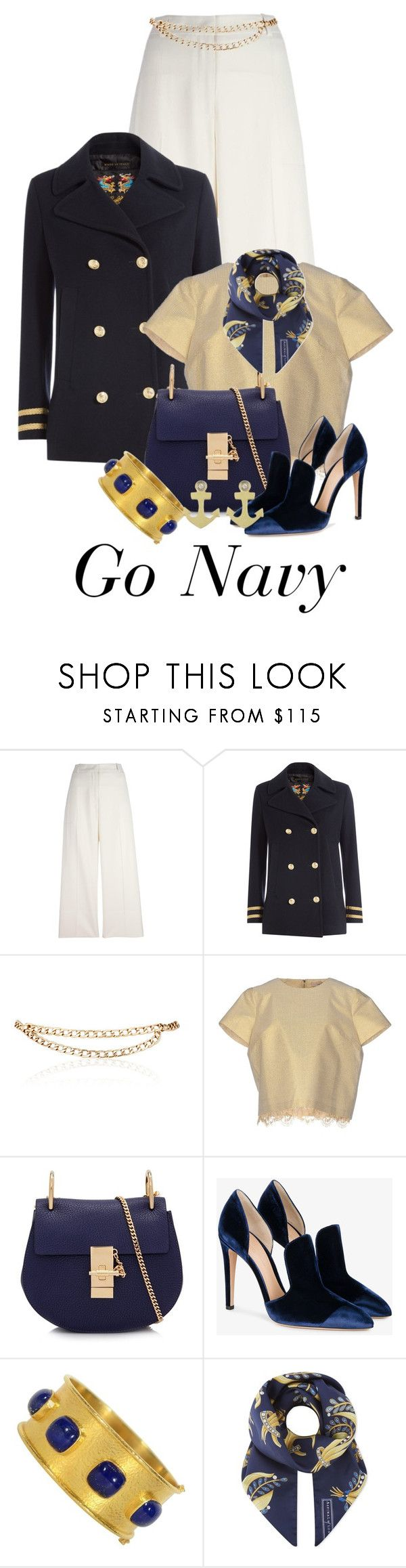 """""""Go NAVY Military Look!"""" by shamrockclover ❤ liked on Polyvore featuring Ermanno Scervino, The Seafarer, Maison Mayle, SCEE, Chloé, Gianvito Rossi, Elizabeth Locke, Aspinal of London and Meira T"""