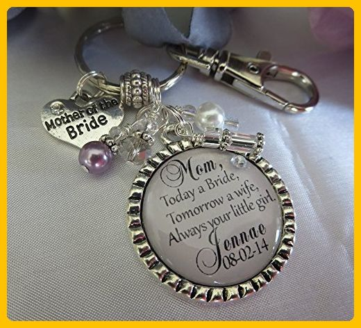 Mother of the Bride Gift Personalized Bridal Gift from Bride Silver Key chain Necklace Wedding key chain purse pull Jewelry - Wedding nacklaces (*Amazon Partner-Link)