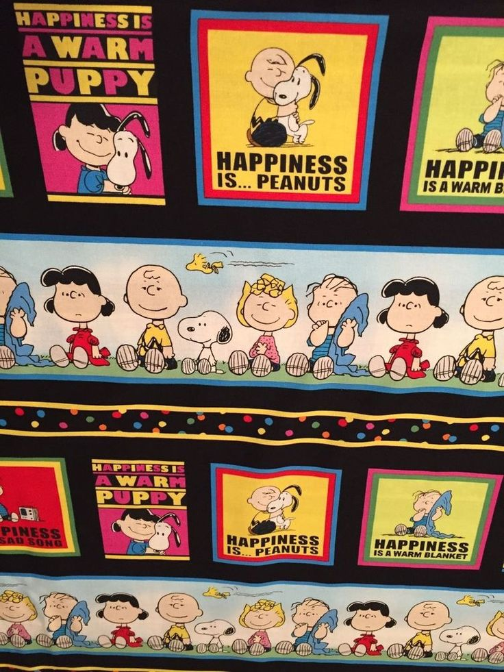 Project Linus Peanuts Snoopy Happiness Rows 100% COTTON FABRIC sold by YARD…