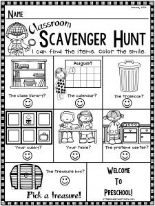 Open House Scavenger Hunt Freebie for preschool                              …