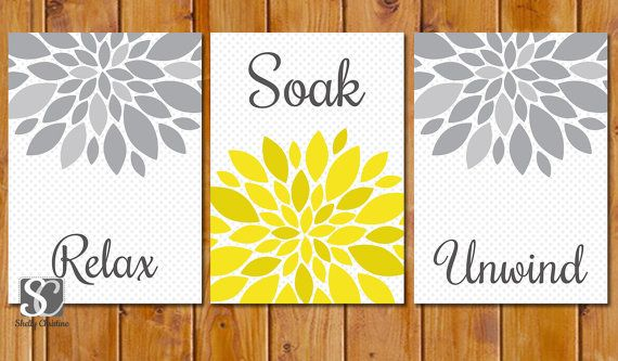 Yellow Grey Bathroom Spa Wall Decor Flower Burst Wall Art Relax Soak Unwind Grey Polka Dots Set of 3 Digital JPG 5x7 Printable (99)
