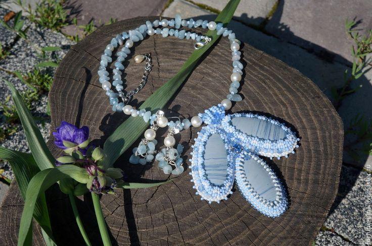 Купить Комплект украшений из тенгизита и аквамарина Голубая дымка - комплект украшений, украшения ручной работы