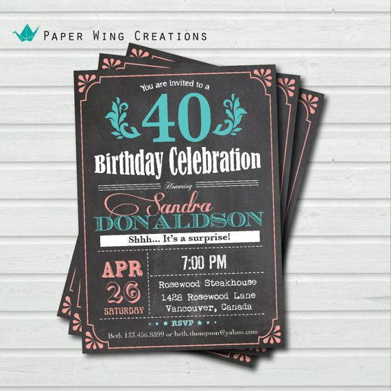 40th birthday invitation for woman. by ThePaperWingCreation, $15.00:
