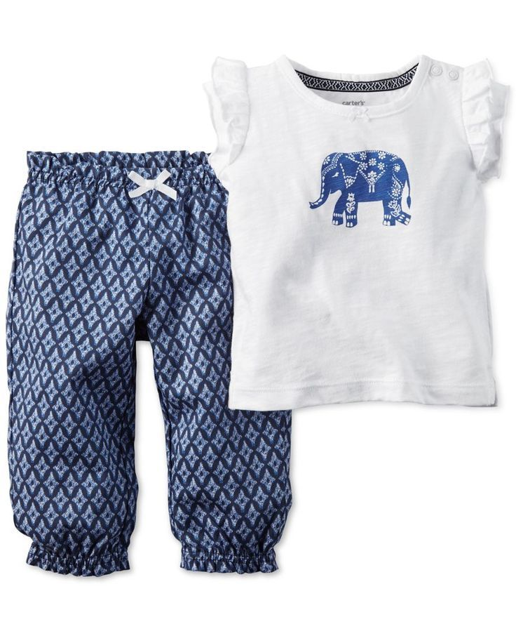 Carter 39 S Baby Girls 39 2 Pc Elephant Top Pants Set Carter S Babymode Fur Madchen Baby Outfits Babykleidung Madchen
