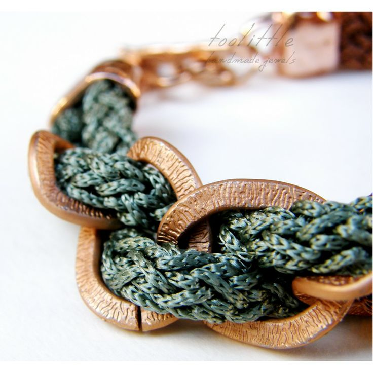 Chocolat-Green Satin Rope & Chain Bracelet #rope jewelry