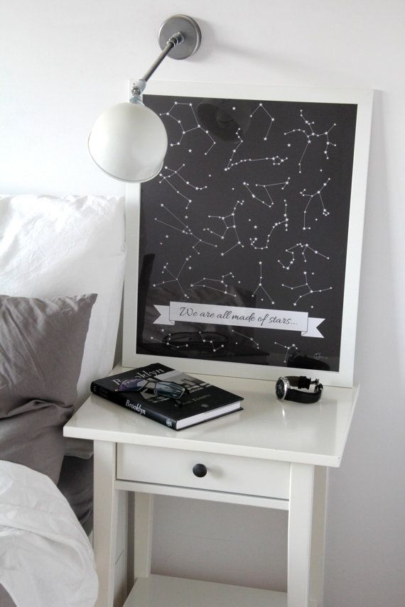 printable poster STARS  white and black decoration by gumberrypl