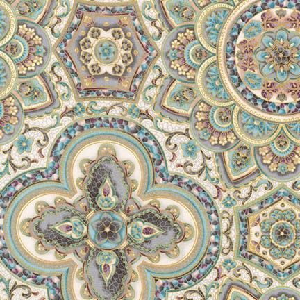 SRKM-17055-200 1 Villa Geometric Floral Multi With glimpses of fine Romana Villas this fabric range takes us back to a time when beautiful tiled and mosaic buildings were seen in the upper echelons of society. From Robert Kaufman Studios the glazed tile effects mixed with vintage floral bring history to life. We have selected beautiful mosaics with multiple colours, greys, creams and mauves to provide a great selection for you next quilting project. In the traditional Robert Kaufman style…