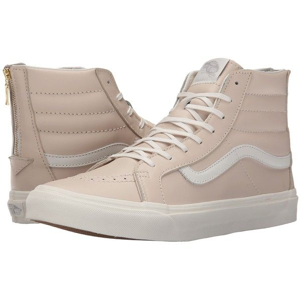 Vans SK8-Hi Slim Zip ((Leather) Whispering Pink/Blanc de Blanc) Skate... ($65) ❤ liked on Polyvore featuring shoes, sneakers, vans, leather high tops, pink sneakers, pink high tops, high top sneakers and leather sneakers