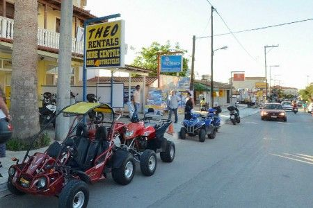 Theo rentals has a big collection of buggies, quads and scooters that are a great solution for someone that wants to visit all the nice locations of the island fast and with comfort. Theo offers insurance and also help and support for any damage while on street. Visit one of the stores in Tsilivi resort so you can get informed about the models available, the prices and also to check by yourself the great quality of the vehicles. Have a nice  tour in Zakynthos!