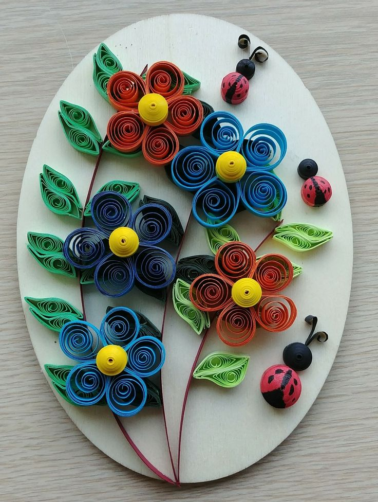 Windy's orange and blue flowers with ladybugs quilling on oval wood board 02-26-18