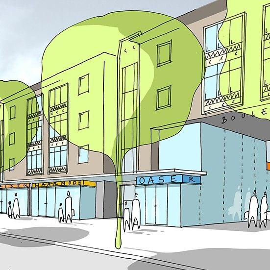 Stedenbouwkundig ontwerp voor een woon/winkelcomplex aan de Heezerweg te…