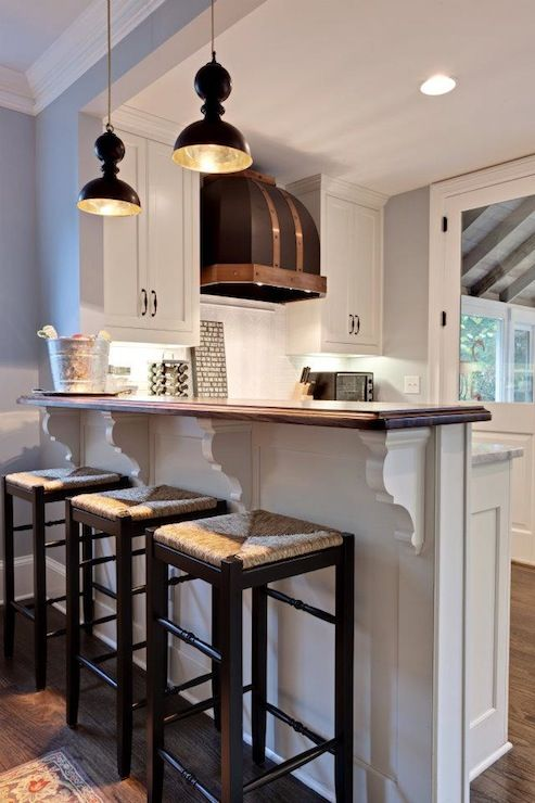 Add Your Kitchen With Kitchen Island With Stools: Bar Island With Stained Wood Countertop And Seagrass