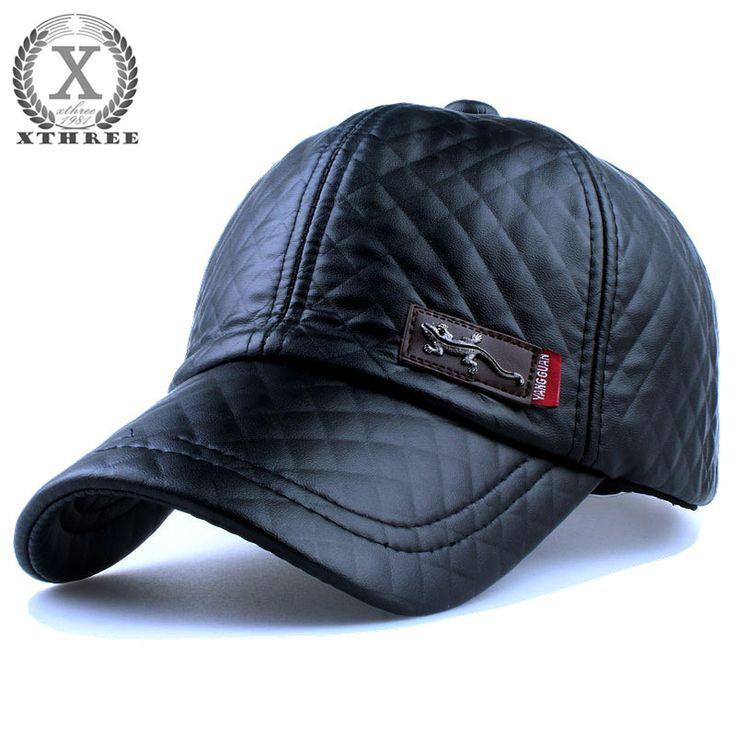Xthree Baru fashion berkualitas tinggi kulit imitasi Topi jatuh musim dingin topi kasual snapback topi bisbol untuk pria wanita topi grosir