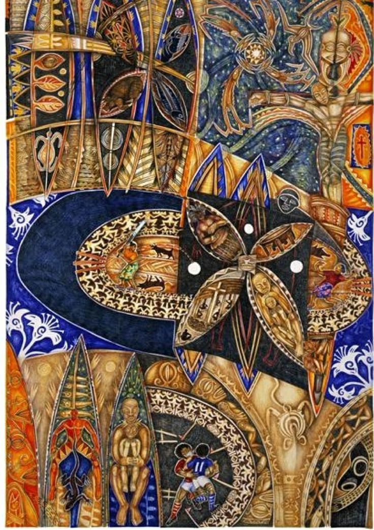 Mana Pasifika mural by Michel Tuffery (NZ), 1996. Paper, pigment