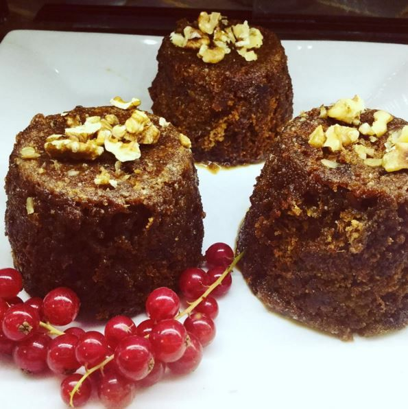 Vegetarian sticky toffee puddings being served in our Penzance cafe! The perfect Veggie Xmas!