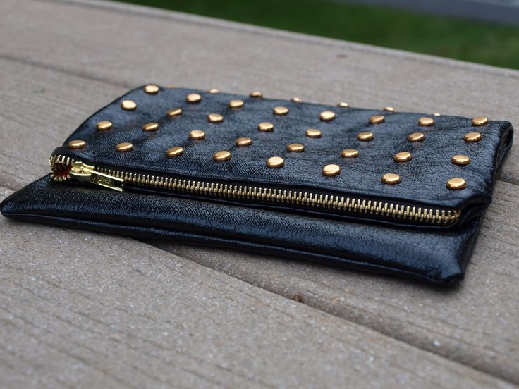 DIY: studded leather foldover clutch