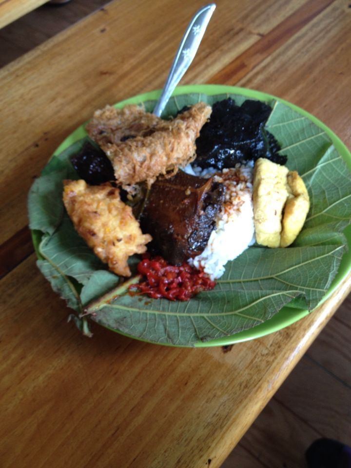 nasi jamblang from cirebon, Indonesia. Served with squid cooked with the ink. yum!