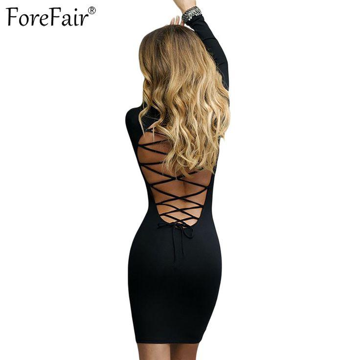 ForeFair Trend Criss Cross Sexy Open Back Club Party Dresses 2017 Vestidos Black Red Long Sleeve Mini Bodycon Women Dress