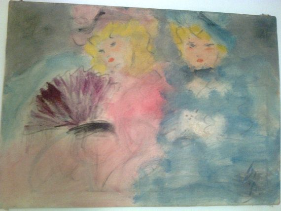 Doris  Two ladies from Belle Epoque oil on by Vintageandelegant, €4100.00