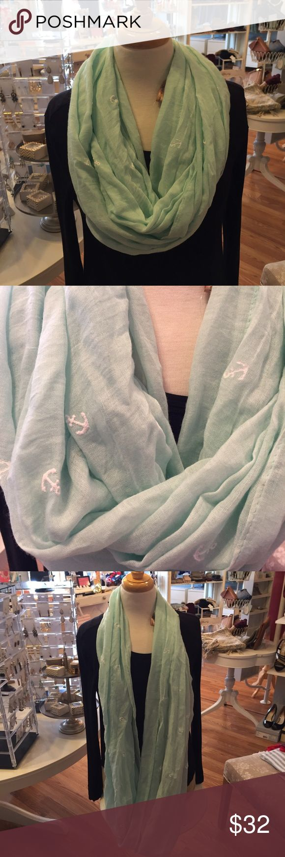 ❄️NEW SALE❄️Lightweight Anchor Infinity Scarf Cute lightweight infinity scarf featuring a mint green color with white anchor detailing. Adds a cute touch to any outfit. 70% Poly 30% Viscose Accessories Scarves & Wraps