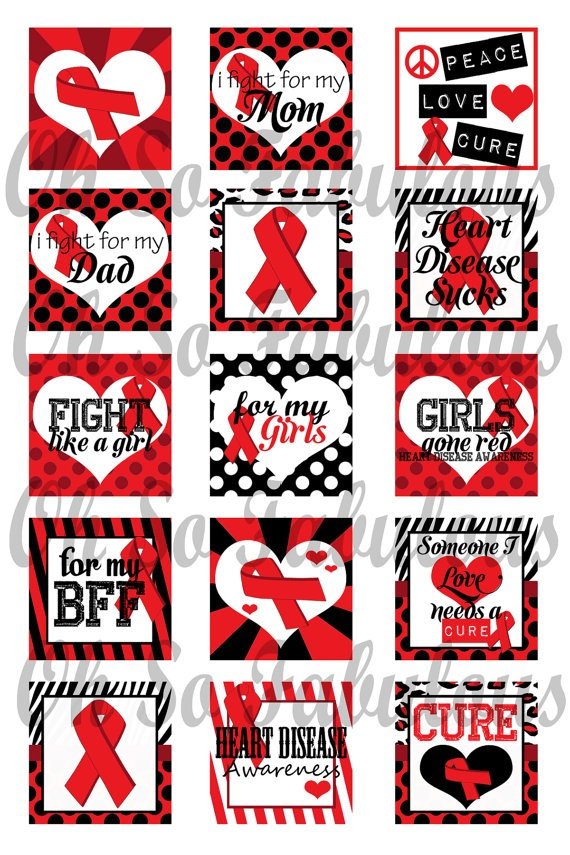 Heart Disease Awareness Red Ribbon 1 inch Squares by OhSoFabulous, $2.00