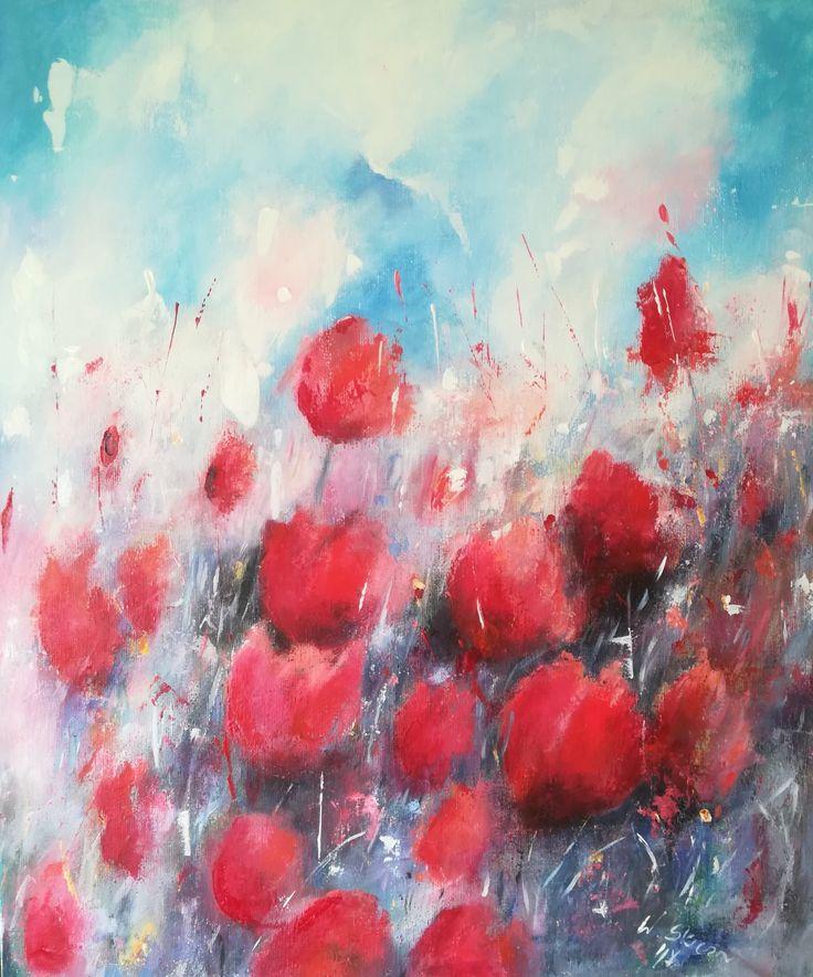 Akryl na płótnie 50x60, #acryl #acrylicpainting #flowers #kwiaty #malowaneręcznie #malowane #art #artwork