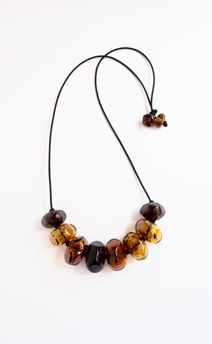 Avril Bowie - Amber - glass beaded necklace - handmade glass