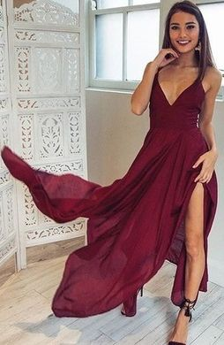 prom dress,prom dresses,prom gown,Sexy V-neck Long Chiffon Prom Dresses,Sleeveless Burgundy Prom Dress with Slit,long prom dress