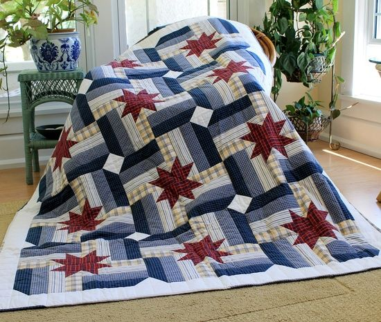 red white and blue quilts | Red, White and Blue Quilts / Quilt made entirely with recycled men's ...