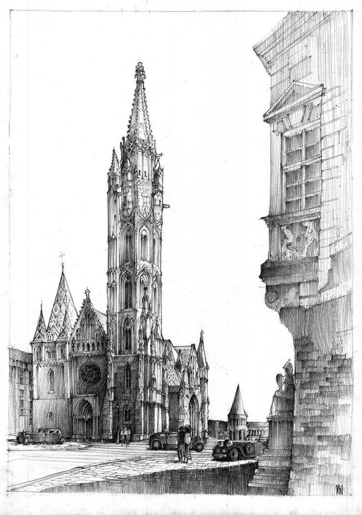 Matthias Church in Budapest, pencil architecture sketch by Krystian Woźniak from Poland.