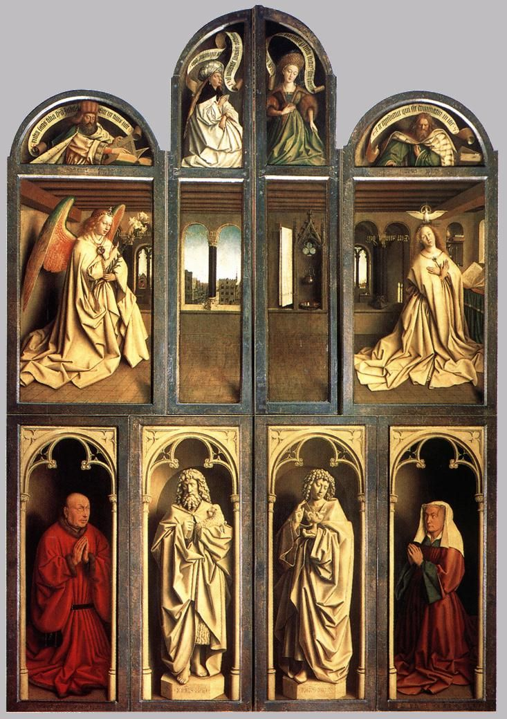 Jan van Eyck: The Ghent Altarpiece (Closed) (1432) Flemish