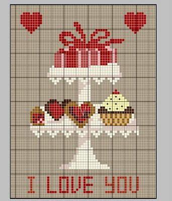 Cross-stitch Card idea... no color chart available, just use pattern chart as your color guide.. or choose your own colors...