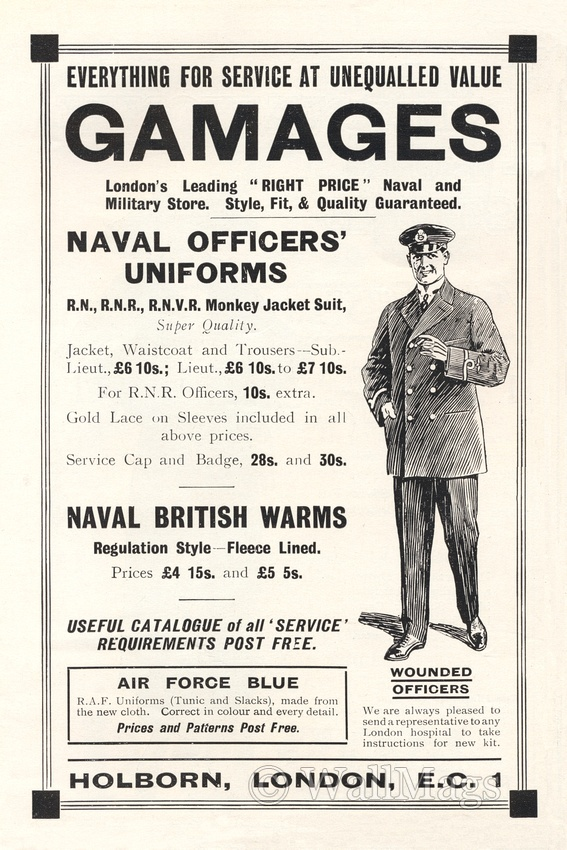 Gamages Naval and Military Store Ad From 1918. Scanned from an original 1918 The Sphere magazine.