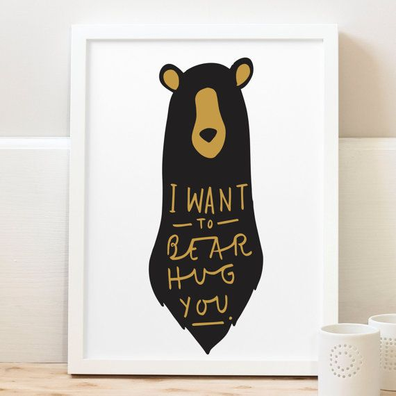 A4 Bear Hug Print bear print nursery print by OldEnglishCo