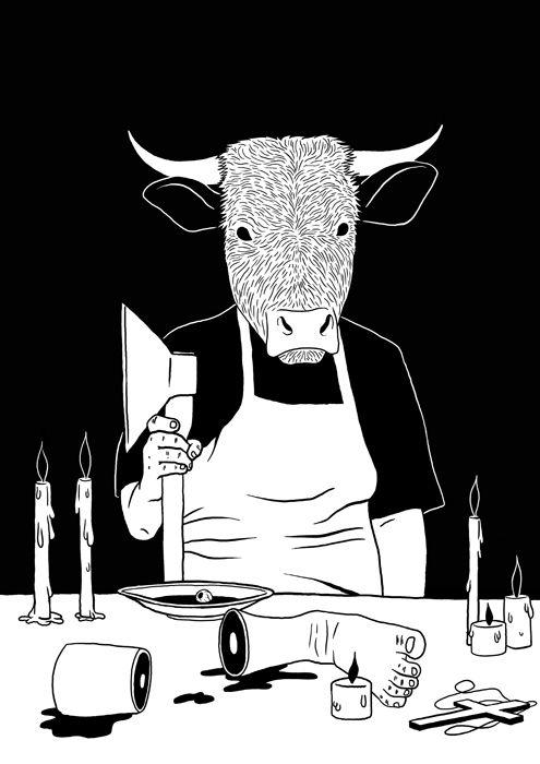 new shit by Andrey Flakonkishochki, via Behance #illustration #cow