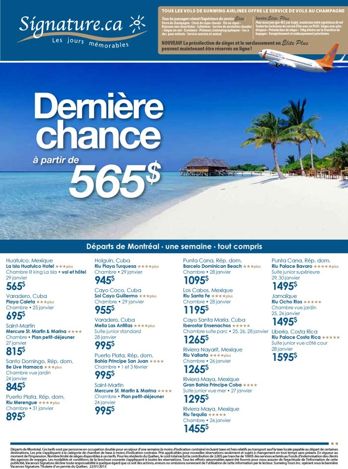 Bonjour à tous / Good day,    Nolitours et Signatures Vacances vous offrent des offres de dernières minutes incroyables - Contactez-nous dès que possible! / Nolitours and Signatures Vacations are offering great last minute deals - Contact us!    Visitez notre site web pour voir toutes les options de voyage ou contactez-nous, l'Équipe de Voyages Lorraine, au 819-771-0888. / Visit our website for more information on the different travel packages or contact us at Voyages Lorraine at…