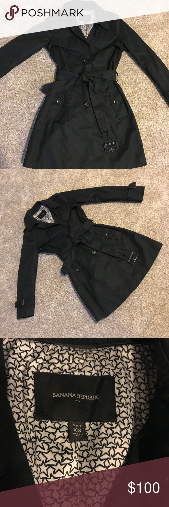EUC black trench coat from Banana Republic Excellent used condition, only worn a few times. Black trench coat with front buttons, belt at waist, pockets. Banana Republic Jackets & Coats Trench Coats